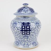 Tarro de Jengibre Chino Templo Porcelana Doble Felicidad Azul Blanca D23xAlto32cm