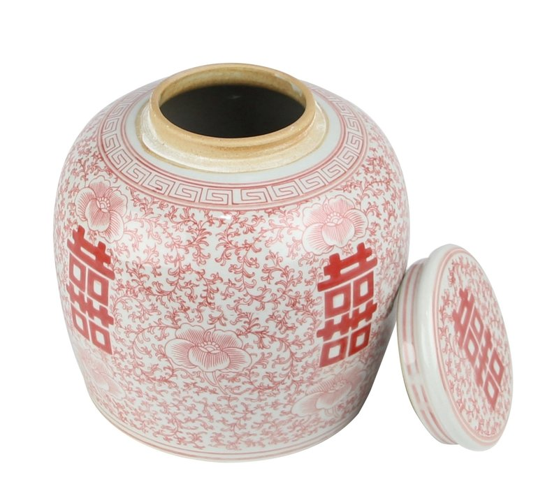 Chinese Ginger Jar Red White Double Happiness D23xH23cm