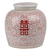 Fine Asianliving Chinese Gemberpot Rood Wit Dubbele Blijdschap D23xH23cm