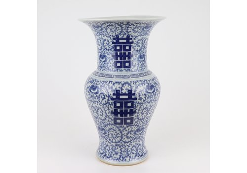 Fine Asianliving Chinese Vaas Blauw Wit Dubbele Blijdschap D21xH35cm