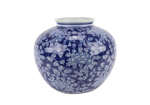 Fine Asianliving Chinese Vaas Blauw Wit Porselein D23xH20cm