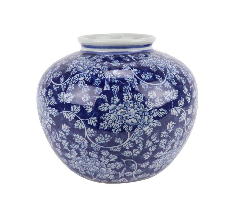 Vase Chinois Bleu Blanc Porcelaine D23xH20cm