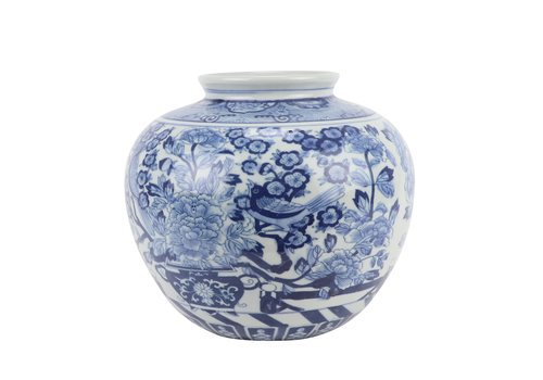 Fine Asianliving Chinese Vase Blue White Porcelain D23xH20cm