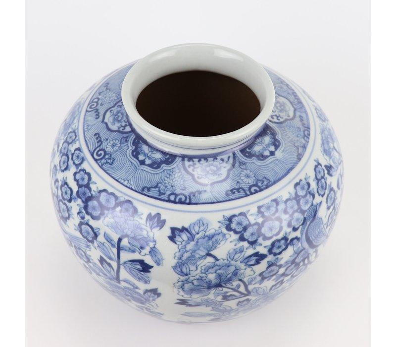 Chinese Vaas Blauw Wit Porselein D23xH20cm