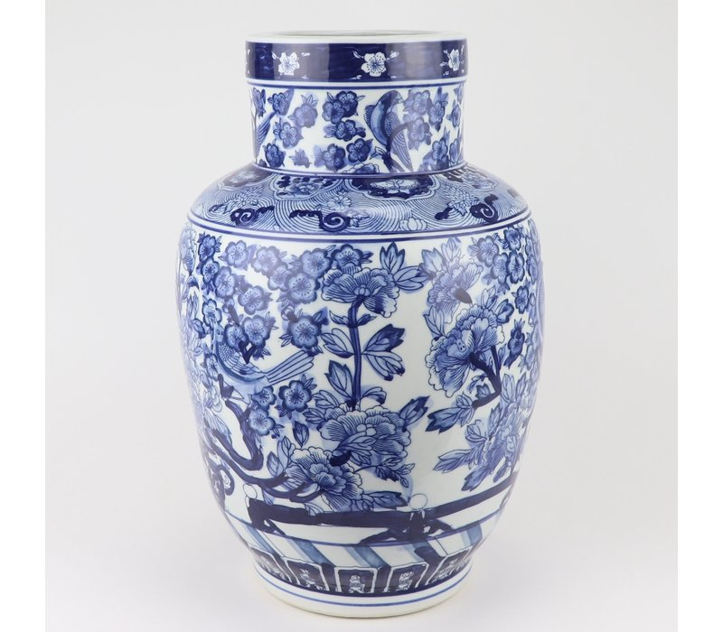 Chinese Vaas Blauw Wit Porselein D28xH42cm