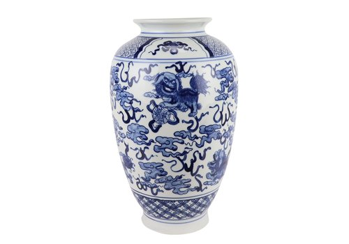 Fine Asianliving Chinese Vaas Blauw Wit Porselein D23xH37cm