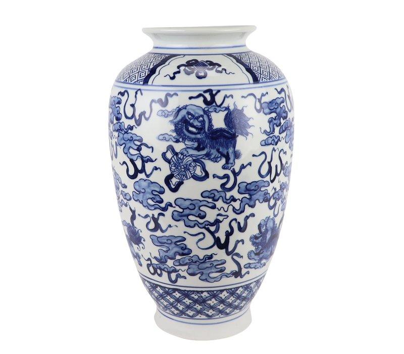 Chinese Vaas Blauw Wit Porselein D23xH37cm