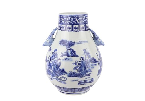 Fine Asianliving Chinese Vaas Blauw Wit Porselein D21xH29cm