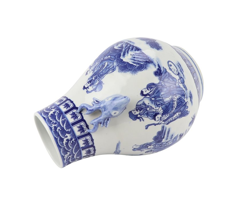 Chinese Vaas Blauw Wit Porselein D21xH29cm