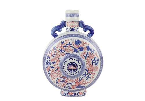 Fine Asianliving Chinese Vaas Blauw Wit Rood Porselein D22xH35cm