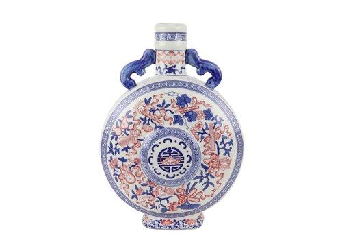 Fine Asianliving Chinese Vase Blue White Red Porcelain D22xH35cm
