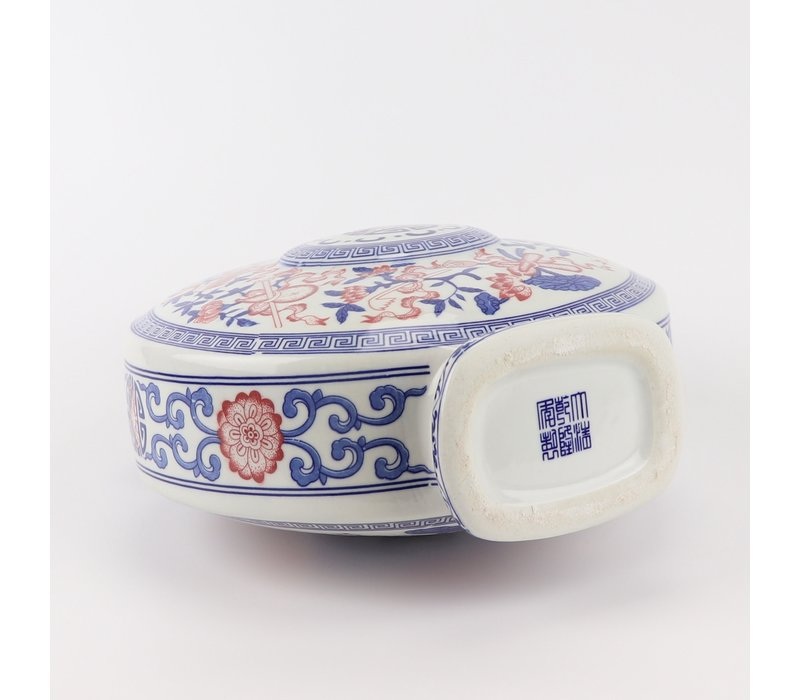 Chinese Vaas Blauw Wit Rood Porselein D22xH35cm