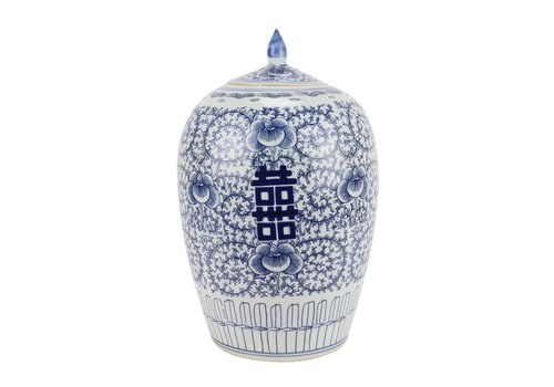 Fine Asianliving Chinese Gemberpot Blauw Wit Dubbele Blijdschap Porselein D22xH35cm