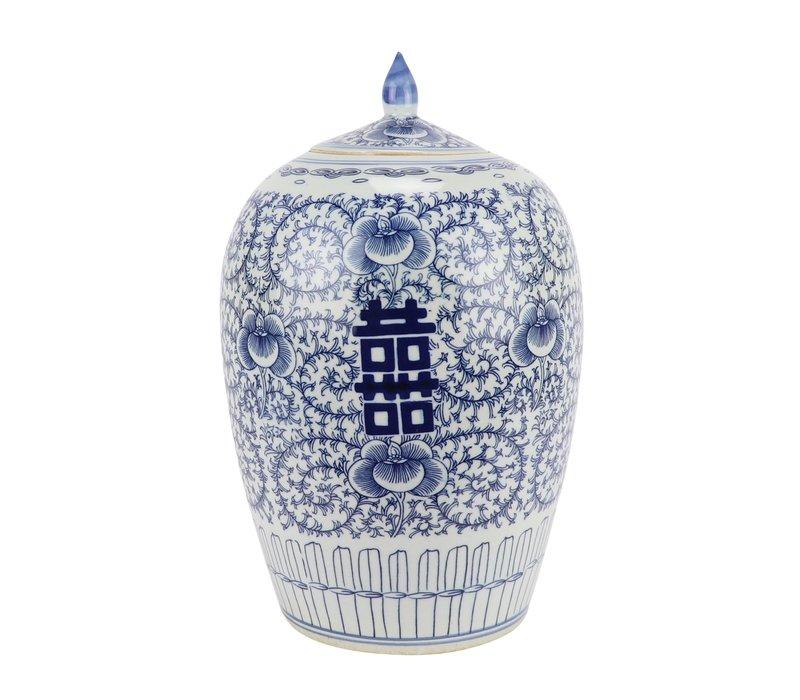 Chinese Gemberpot Blauw Wit Dubbele Blijdschap Porselein D22xH35cm