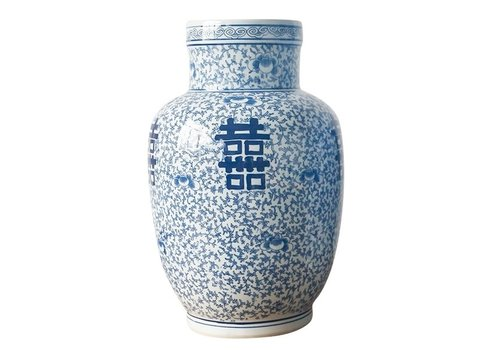 Fine Asianliving Chinese Vaas Blauw Wit Dubbele Blijdschap Porselein D28xH42cm