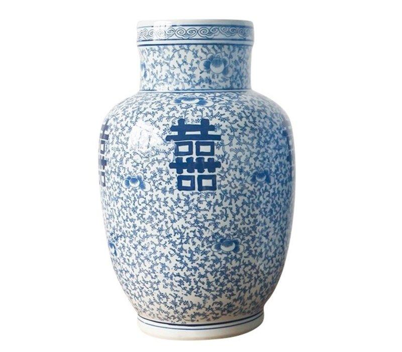 Chinese Vaas Blauw Wit Dubbele Blijdschap Porselein D28xH42cm