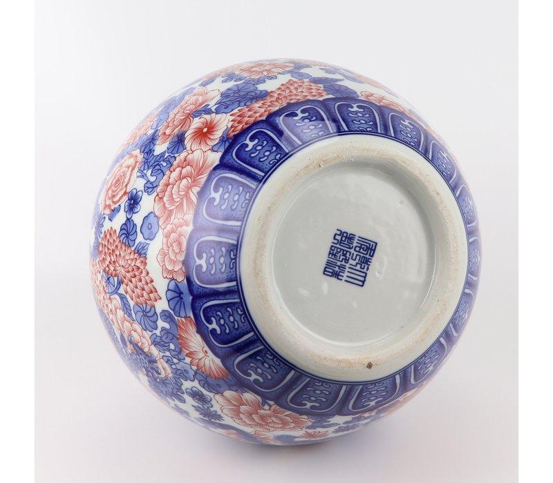 Chinese Vaas Blauw Wit Rood Draak Porselein D20xH40cm