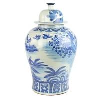 Chinese Gemberpot Blauw Wit Porselein Handgeschilderd Vogels D30xH50cm