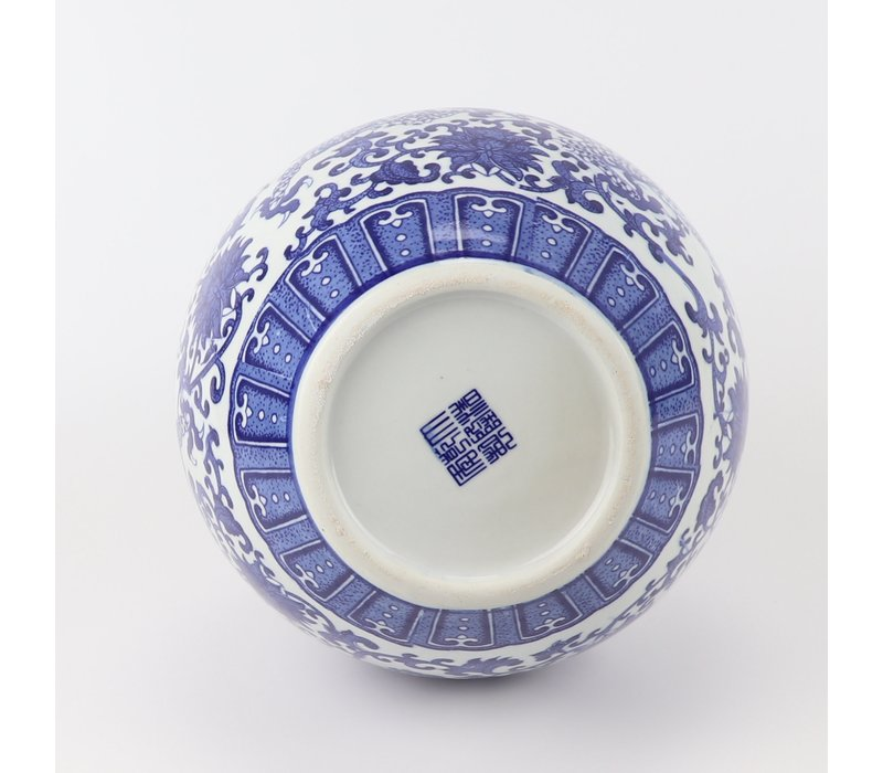 Chinese Vaas Blauw Wit Porselein Draak D22xH34cm