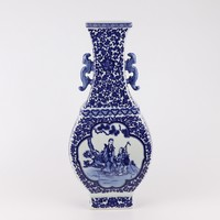 Chinese Vaas Blauw Wit Porselein Landschap D15xH45cm