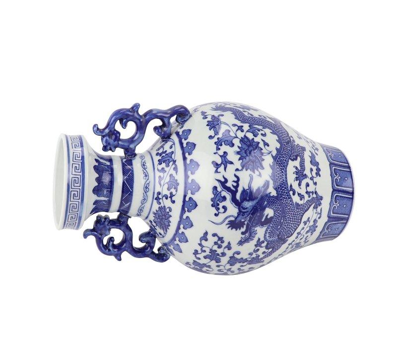 Chinese Vaas Blauw Wit Porselein Draak D18xH33cm