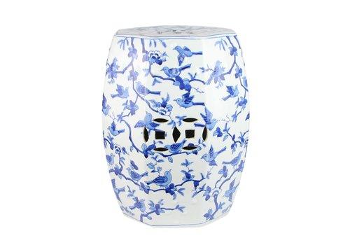 Fine Asianliving Ceramic Garden Stool Handpainted Blue White Birds D33xH45cm