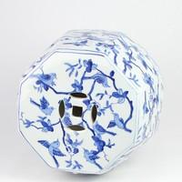 Keramieke Tuinkruk Handgeschilderd Blauw Wit Vogels D33xH45cm