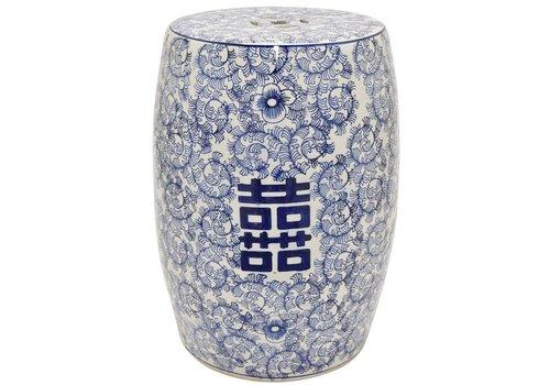 Fine Asianliving Tabouret de Jardin Céramique Bleu Blanc Double Bonheur D33xH45cm