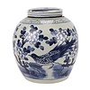 Fine Asianliving Chinese Gemberpot Blauw Wit Porselein Handgeschilderd Vogels D30xH30cm
