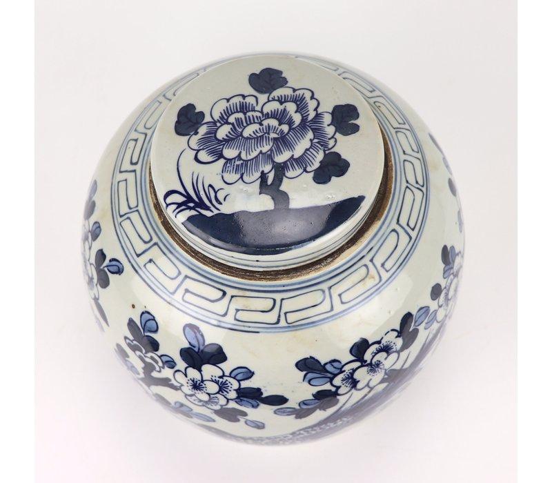 Chinese Gemberpot Blauw Wit Porselein Handgeschilderd Vogels D30xH30cm