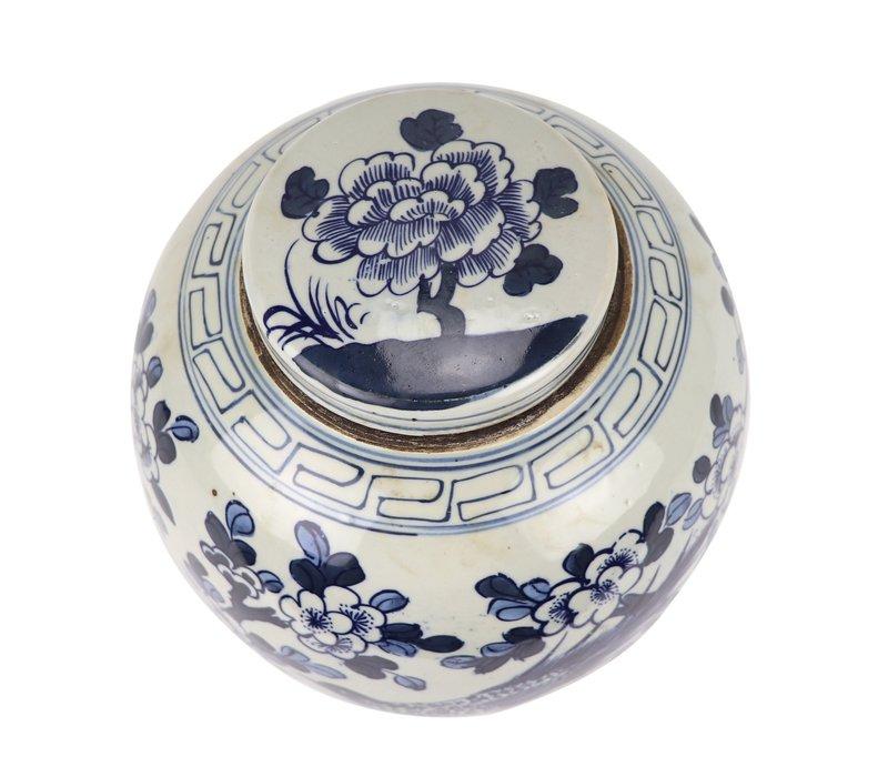 Chinese Gemberpot Blauw Wit Porselein Handgeschilderd Vogels D25xH25cm