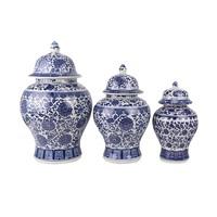 Chinese Gemberpot Porselein Lotus Blauw Wit D17xH32cm