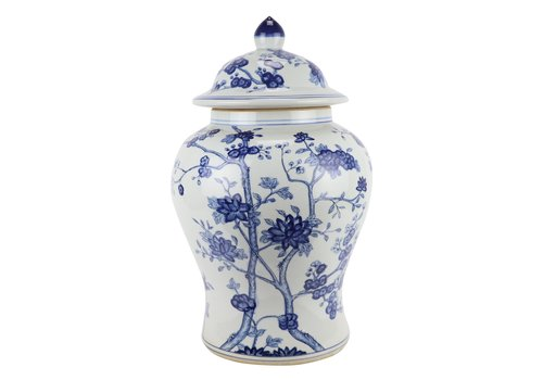 Fine Asianliving Chinese Gemberpot Blauw Wit Porselein Bloesems D29xH48cm