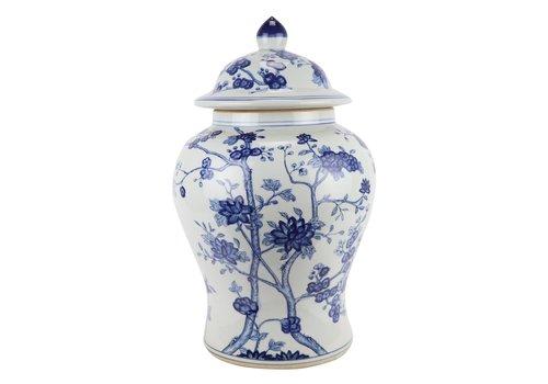 Fine Asianliving Chinese Ginger Jar Blue White Porcelain Blossoms D29xH48cm