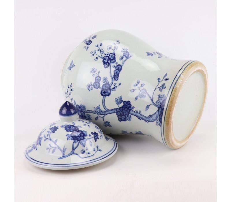 Chinese Gemberpot Blauw Wit Porselein Bloesems D29xH48cm