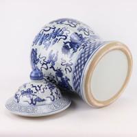Chinese Gemberpot Blauw Wit Porselein Handgeschilderd Qilun D40xH64cm