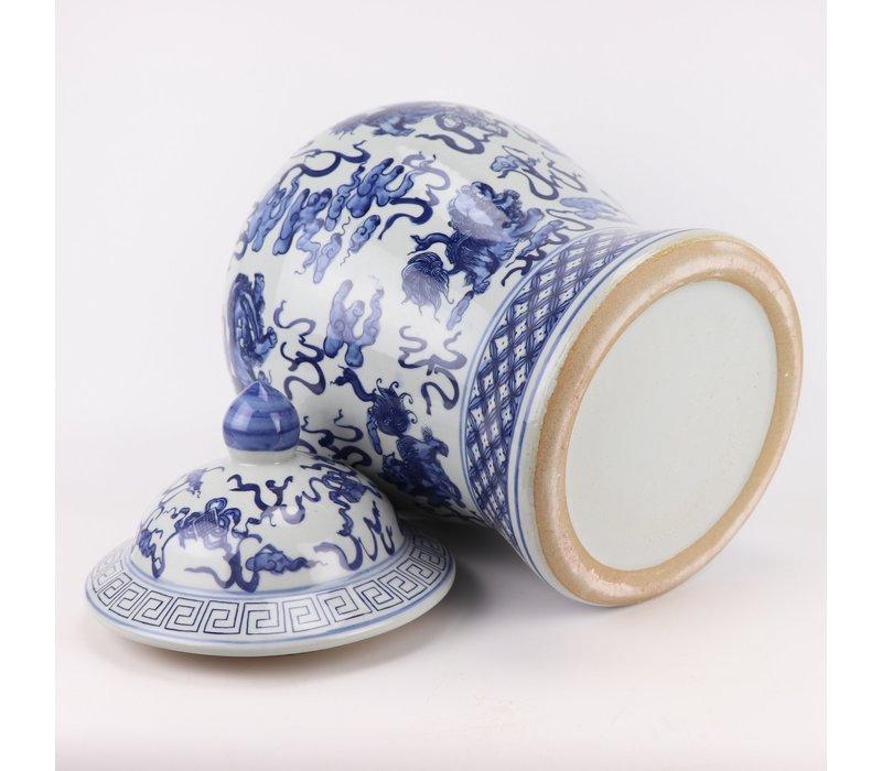 Chinese Gemberpot Blauw Wit Porselein Handgeschilderd Qilun D33xH53cm