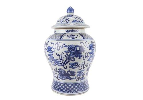 Fine Asianliving Chinese Gemberpot Blauw Wit Porselein Handgeschilderd Qilun D29xH46cm