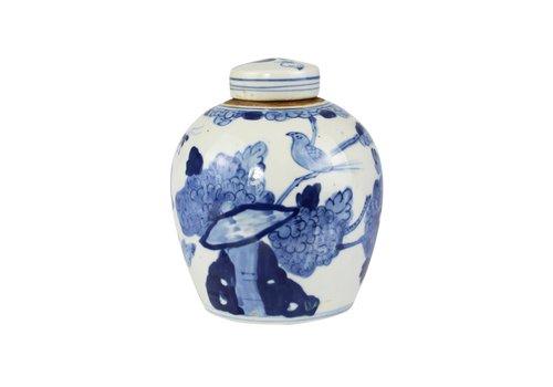 Fine Asianliving Chinese Gemberpot Blauw Wit Porselein Vogels D14xH17cm