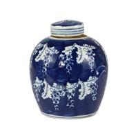 Chinese Gemberpot Blauw Wit Porselein Vlinders D14xH17cm