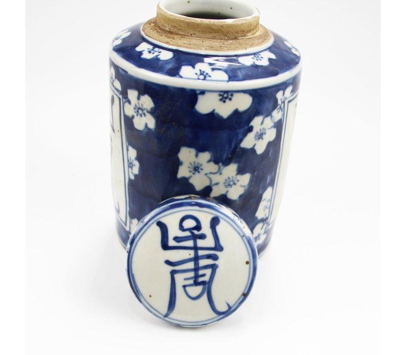Chinese Gemberpot Blauw Wit Porselein Langleven D12xH18cm