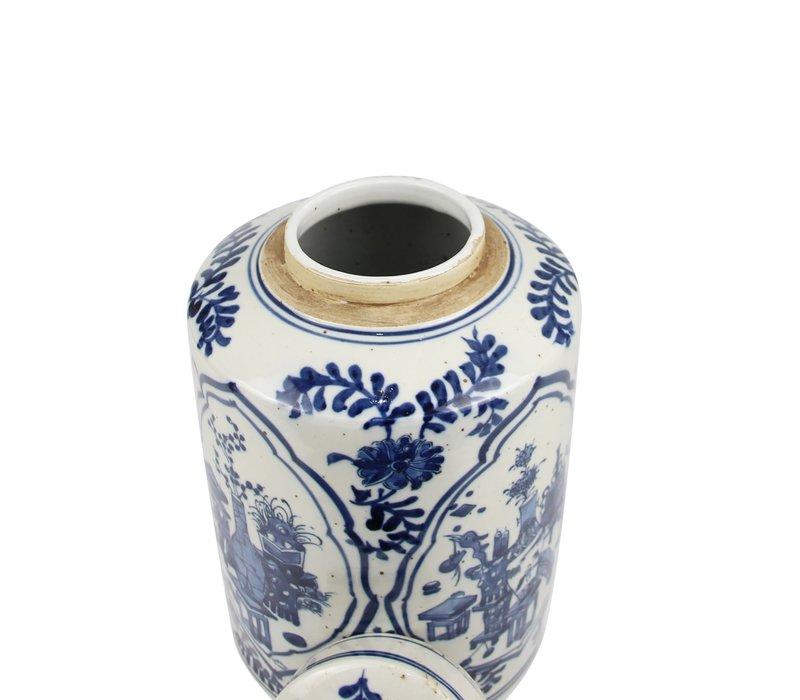 Chinese Gemberpot Blauw Wit Porselein D19xH29cm