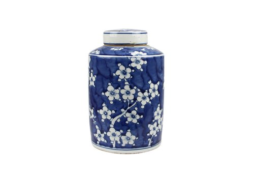 Fine Asianliving Chinese Gemberpot Blauw Wit Porselein Bloesems D19xH29cm
