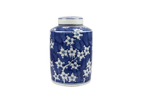 Fine Asianliving Chinese Ginger Jar Blue White Porcelain Blossoms D19xH29cm