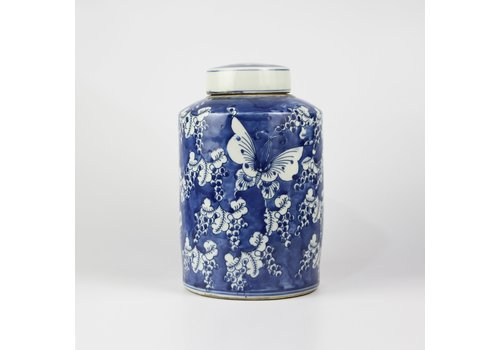 Fine Asianliving Chinese Gemberpot Blauw Wit Porselein Vlinders D19xH29cm