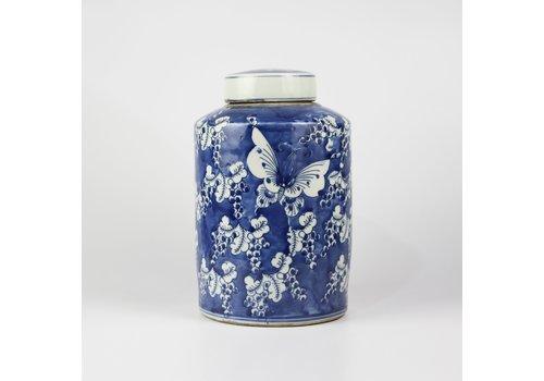 Fine Asianliving Chinese Ginger Jar Blue White Porcelain Butterflies D19xH29cm