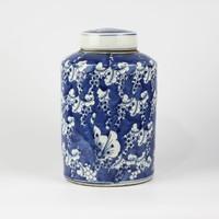 Chinese Gemberpot Blauw Wit Porselein Vlinders D19xH29cm