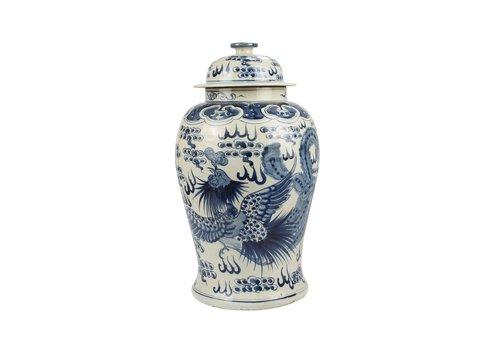 Fine Asianliving Chinese Gemberpot Blauw Wit Porselein Handgeschilderd Draak Phoenix D27xH47cm