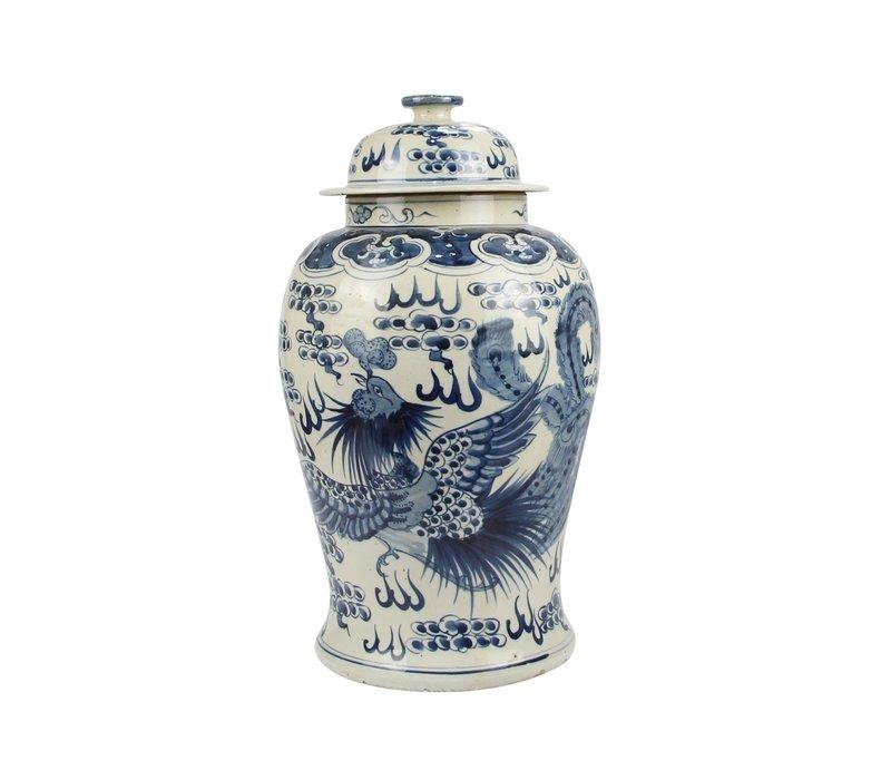 Chinese Gemberpot Blauw Wit Porselein Handgeschilderd Draak Phoenix D27xH47cm