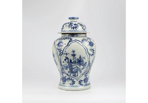Fine Asianliving Chinese Ginger Jar Blue White Porcelain Handpainted Pottery D26xH40cm